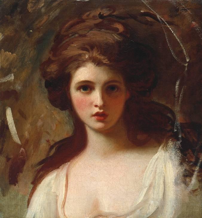 ... Emma Hart, Lady Hamilton. Portrait by George Romney 1782.