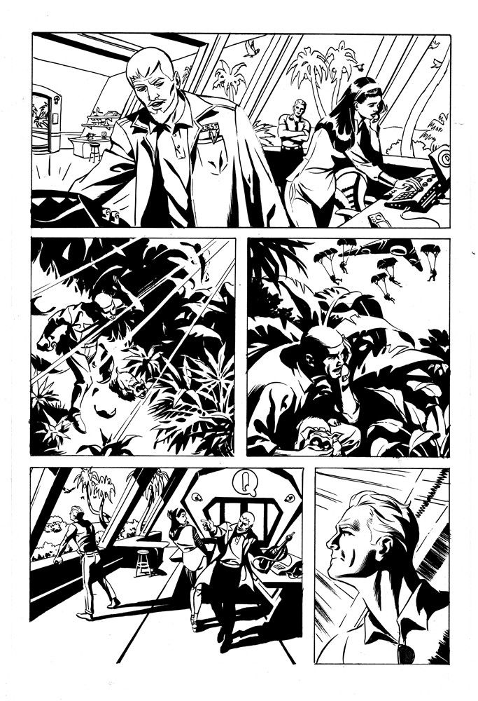 """Pencils by Steve Rude Approximate Size: 11 x 17 inches Medium: India Ink on bristol paper This is an original art piece, not a copy or duplicate. Features: Jonny Quest, Dr. Benton C. Quest, Roger T. """""""