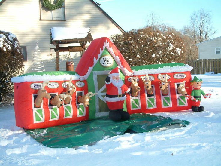 Perfect GIANT 13 FT CHRISTMAS AIRBLOWN INFLATABLE 8 REINDEER STABLE WITH SANTA