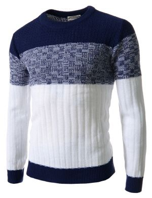 (FFT23-NAVY) Mens Slim Fit Color Block Crew Neck Knit Long Sleeve Tshirts