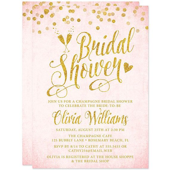 Blush Pink & Gold Bridal Shower Invitations by TheSpottedOlive