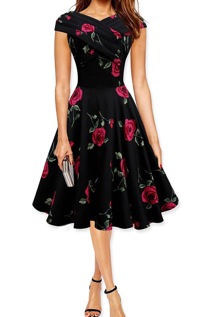 the dress is featuring rose printing. it flaunts a slight a-like silhouette.