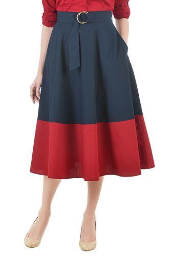 eShakti Womens Belted colorblock poplin skirt $49.95 AT vintagedancer.com
