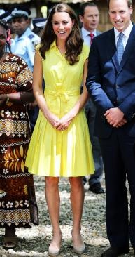 Kate wearing a highlighter yellow Jaeger shirtdress and her trusty L.K. Bennett pumps (Photo: Chris Jackson/Getty Images)