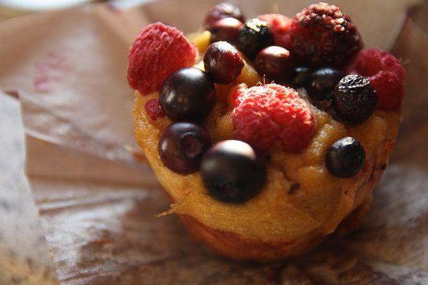 Bursting triple berry grain-free muffin.