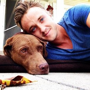When he posed with his adorable dog. | Community Post: 17 Times Tom Felton Melted Your Heart On Instagram
