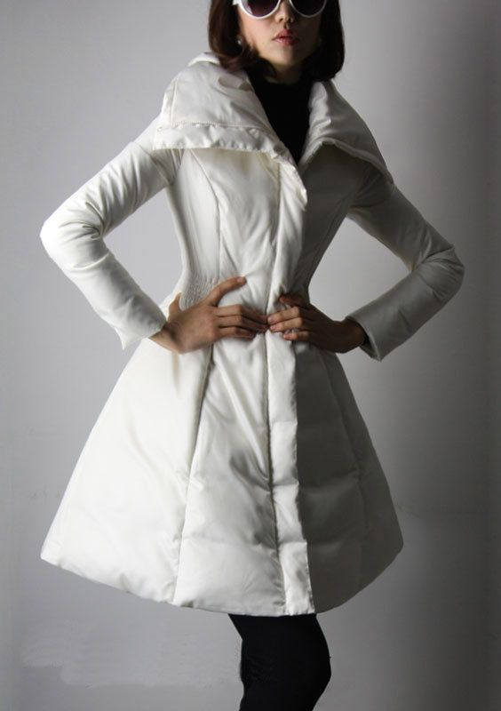 Ivory White Long Parka / 90% Down Filled Long Coat / Big Sweep Women Duvet Jacket / Tunic Fitted Winter Coat