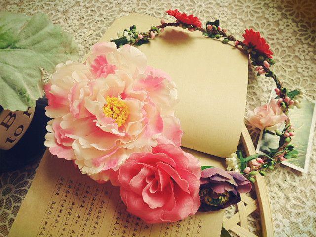 Bride Pink Artificial Flower Crown Hair Wreath Garland