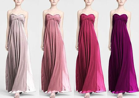 davids bridal bridesmaid dresses- ombre  (cool idea, but less of a dramatic color change would be nice)