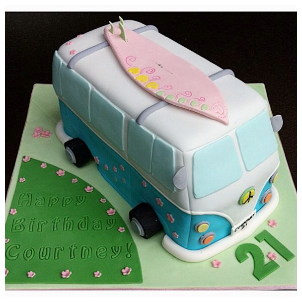 A Combi Van cake made of white chocolate mud cake decorated in fondant icing...