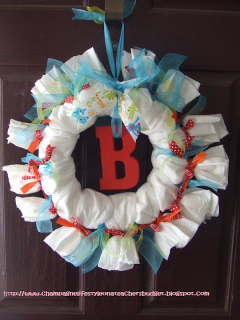 Chic on a Shoestring Decorating: How to Make a Diaper Wreath Baby Shower Gift, Guest Post by The Pink Pineapple