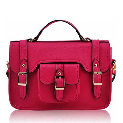 Fuchsia Classic Buckle Satchel Bag with Long Strap - Satchels and Shoes