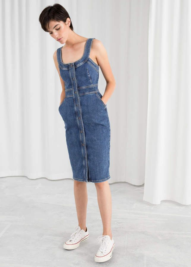 dfa67e390 And other stories Fitted Denim Pencil Dress