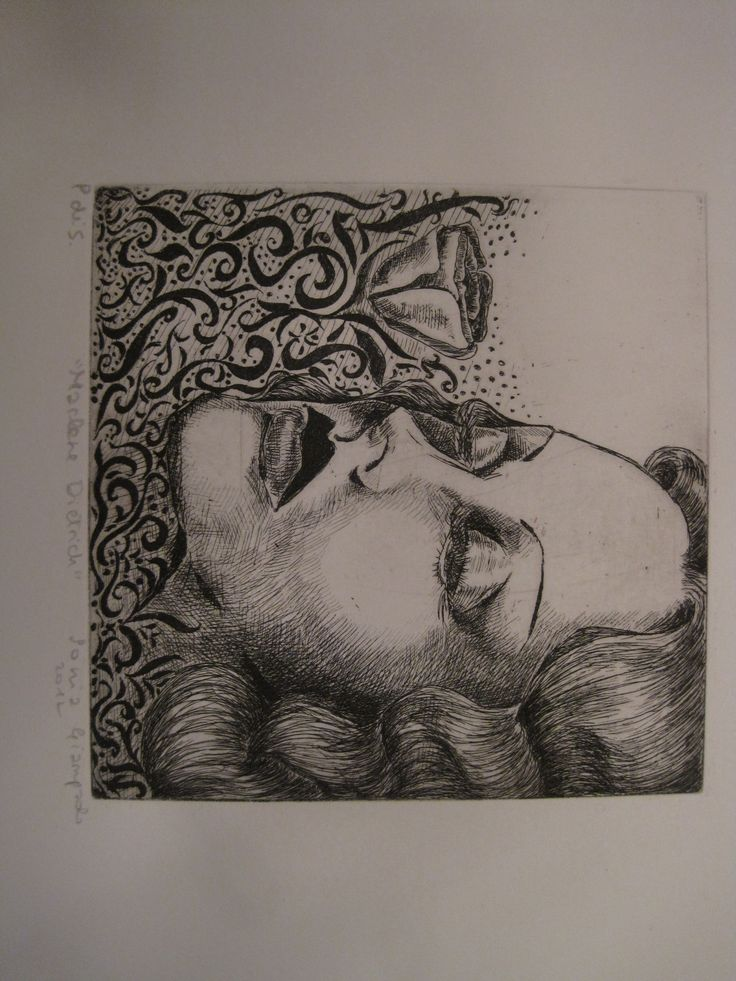 """Marlene Dietrich"" 2012 engraving-etching on zinc"