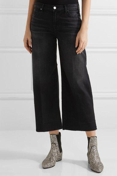 J Brand - Liza Cropped Mid-rise Wide-leg Jeans - Black - 31
