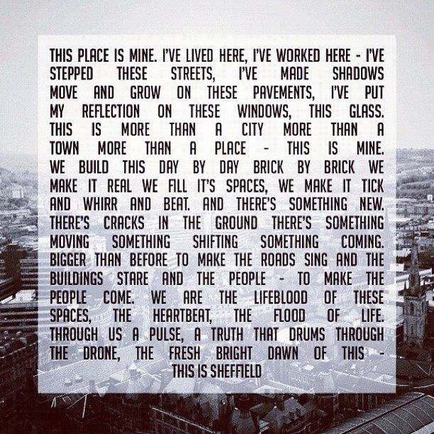 THIS IS SHEFFIELD! (poem, design, commission by @Anna Roberts @Simon Blois @tnrfridays on IG) #socialsheffield #sheffield