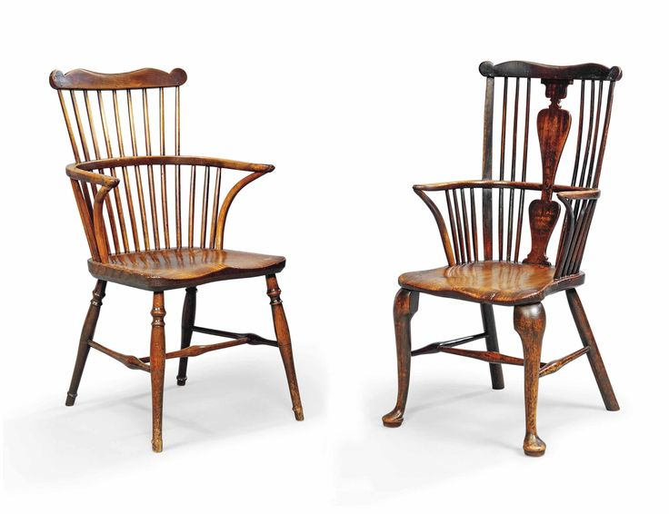 George III Cherry and Elm Cabriole Leg Windsor Armchair