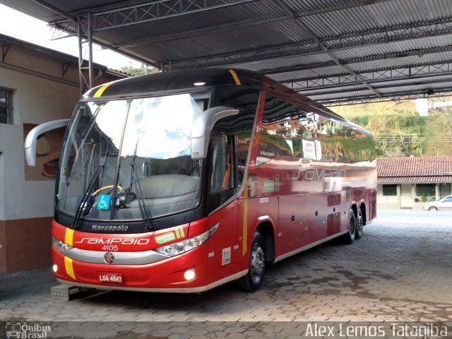 Ônibus da empresa Viação Sampaio, carro 4105, carroceria Marcopolo Paradiso G7 1200, chassi Mercedes-Benz O-500RSD. Foto na cidade de Pouso Alto-MG por Alex Lemos Tatagiba, publicada em 07/07/2017 22:08:32.