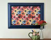 Blue Picture Frame with Floral Background for Four 4x6 Photos