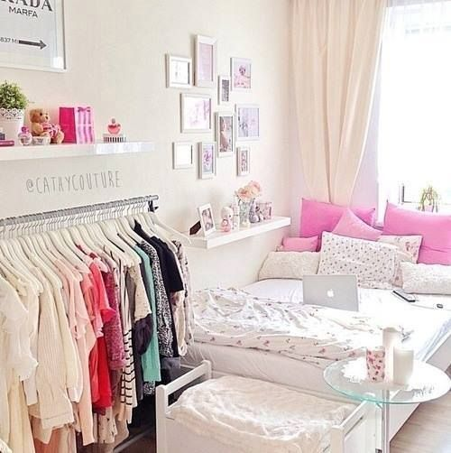 "Maximize your bedroom space by adding a small hanger rod on the wall for easy access to your ""most worn"" clothes!"