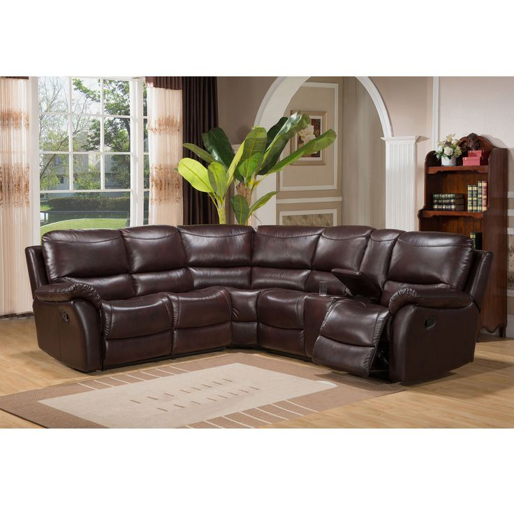 Hillrose Top Grain Dark Burgundy Leather Reclining Sectional Sofa, Brown  (Foam)