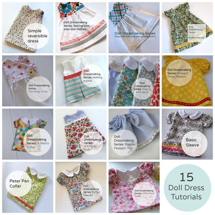 15 Doll Dress Tutorials  There have been about 30 Doll Dressmaking blog posts and to date there have  been about 15 doll dress tutorials. I thought since many of you are  starting your holiday sewing, now might be a good time to make an easy way  to access all of them.  Here are links to all of them. These pattern pieces (and all future ones  too) are included in my free newsletter subscription. There is a sign up at  the end of this post.     1. Reversible Dress    2. Sewing on trim    3…