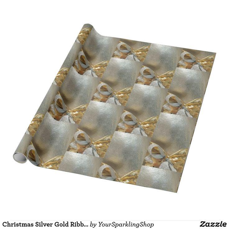 Christmas Silver Gold Ribbon Pattern Elegant