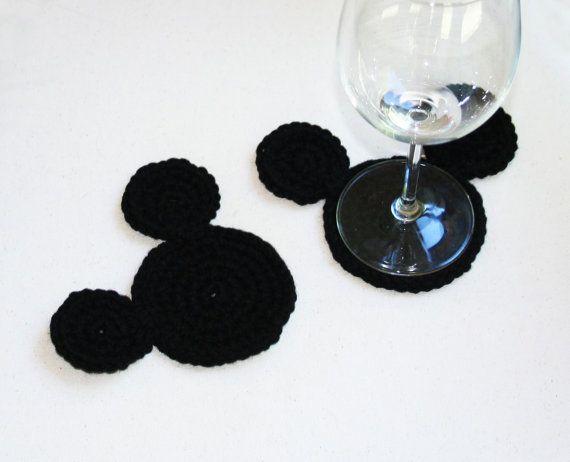 Crochet Mickey Mouse Ears Coasters Set  Disney by TampaBayCrochet, $5.99