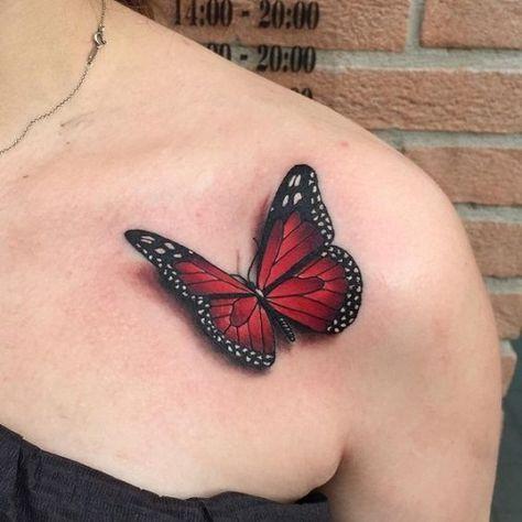 Borboleta vermelha no Peito Tatuagem