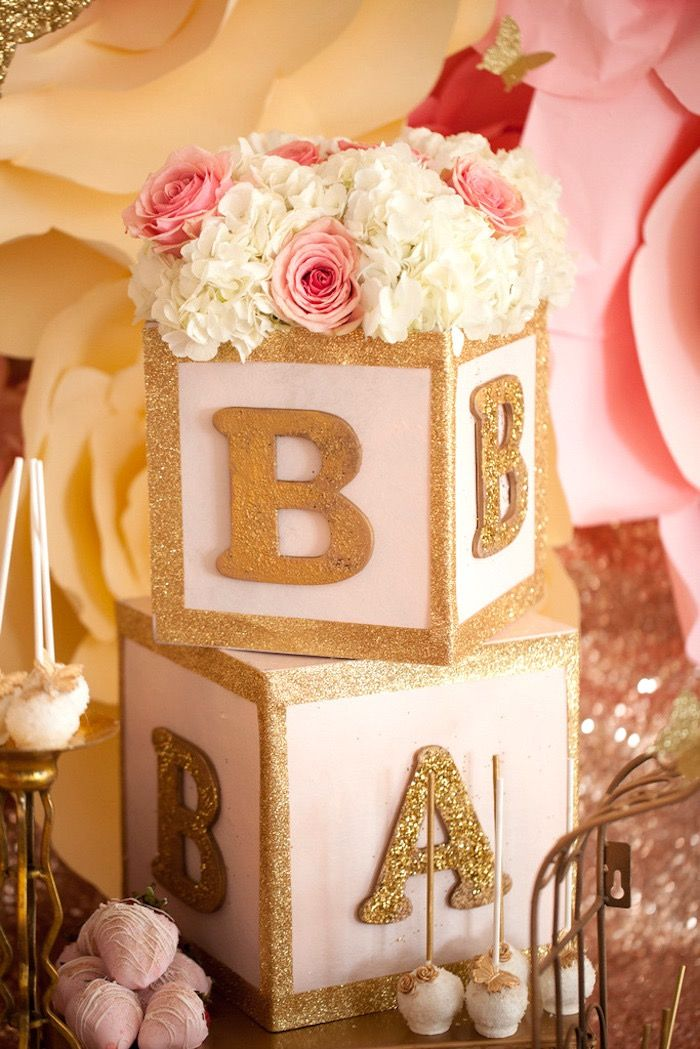 Letter blocks topped with florals from a Pink & Gold Butterfly Baby Shower on Kara's Party Ideas   KarasPartyIdeas.com (13)