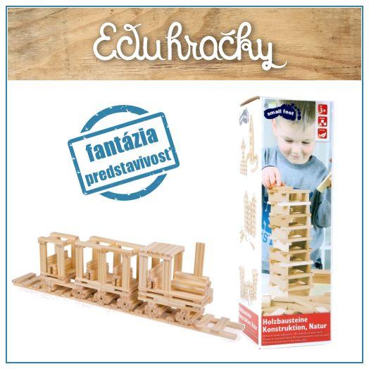 Drevené kvádre s hladkým výbrusom v prírodnom odtieni dreva sú krásne na pohľad a hrejivé na dotyk. Pomocou kvádrov si deti skonštruujú napríklad dom, hrad, vlak, vežu. Stavebnica sa ľahko kombinuje s akýmikoľvek drevenými blokmi.