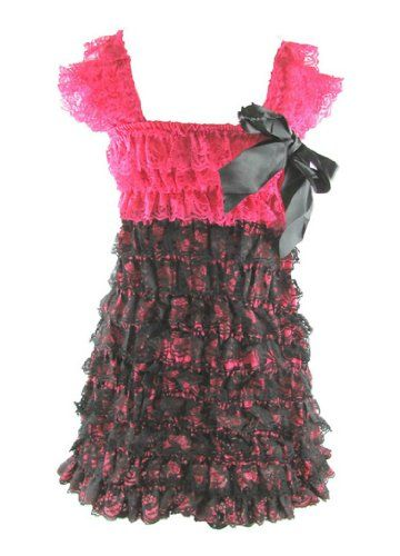 Lace Ruffle Romper Dress (Large (12-24 Mos), Hot Pink/Black)