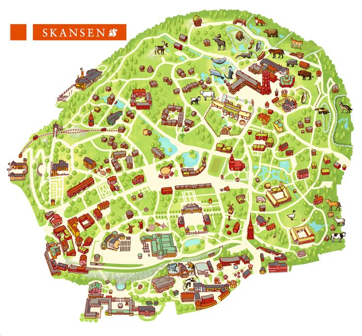 Illustration of a map of the museum Skansen in Stockholm