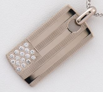 De Beers diamond plate pendant necklace 18-karat gold white gold (2200000216120)