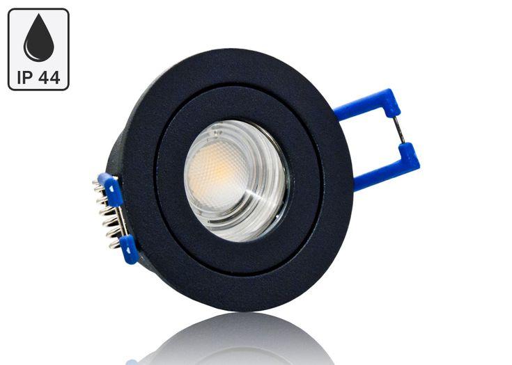 Feuchtraum LED Einbaustrahler Set IP44 MR11 35mm Druckguß anthrazit rund mit Marken LED Spot Bioledex Helso 4 Watt 12V