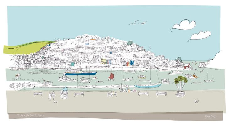 Take a Dartmouth Minute (SB01F) Coastal Town Print by Susie Brooks http://www.thewhistlefish.com/product/dartmouth-framed-by-susie-brooks-sb01f