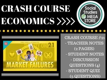 Crash Course Economics Market Failures, Taxes, and Subsidies Ep. 21If you are looking for a full year of US HISTORY try my  WHOLE SEMESTER OF ECONOMICS   Here is what is included in this 5 page download: 1. Note Taking Guide for Students:   This is essentially a blank section to take notes in. 2.