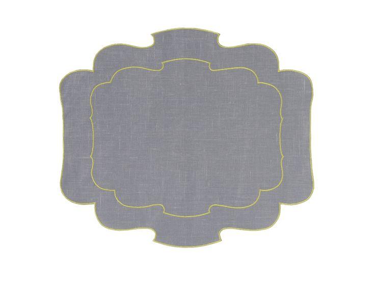 Tovaglietta - Placemat Parentesi 800 - 111 pearl + hem 079 green