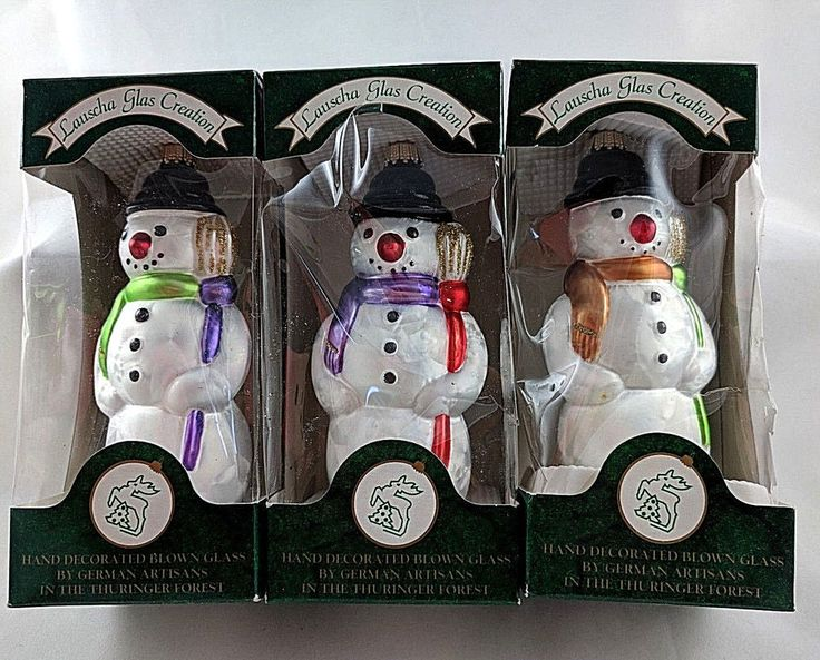 Lauscha Glas Creation Blown Glass Snowman Ornaments Lot Of 3 Made In Germany #Krebs