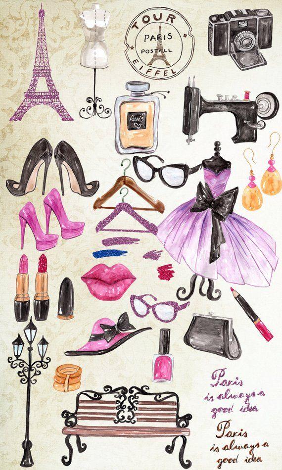 Paris Fashion Clipart Fashion Clipart Eiffel Tower Dress Makeup