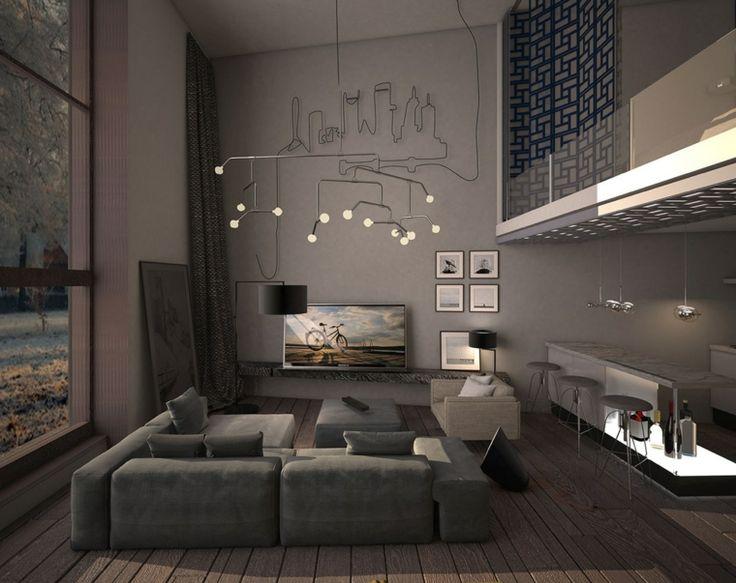 Salon moderne design et cocon en couleurs foncées