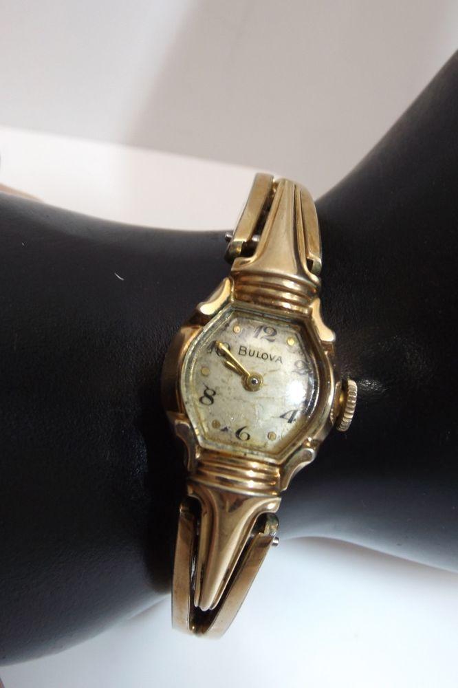 VINTAGE HAND WINDING BULOVA 10K ROLLED GOLD LADIES WRIST WATCH 4416048 WORKING #Bulova