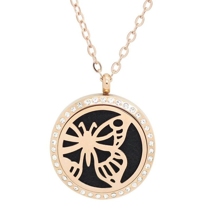 Butterfly Rose Gold with Crystals Aromatherapy Essential Oil Diffuser Locket Necklace