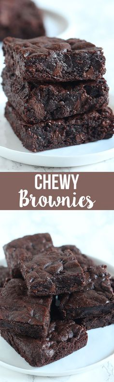 The BEST Chewy Brownies are just as chewy as the boxed brownies but packed with way more chocolate flavor. One bowl recipe made in less than 1 hour!