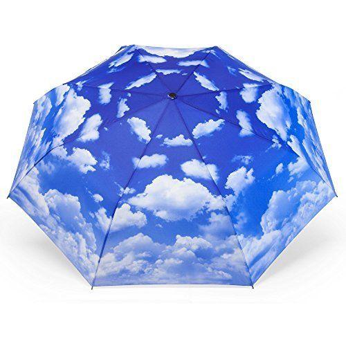 MONDAYNOON Parapluie Pliant Ciel Bleu -Résistant Au Vent Anti-Rayonnement Ultraviolet -Solide Incassables 110cm (Noir)