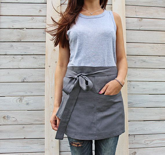 Cafe Apron, Linen Half Apron, Mens and Women Chef Half Cafe Wrap Apron. Hand made by LinenSky.