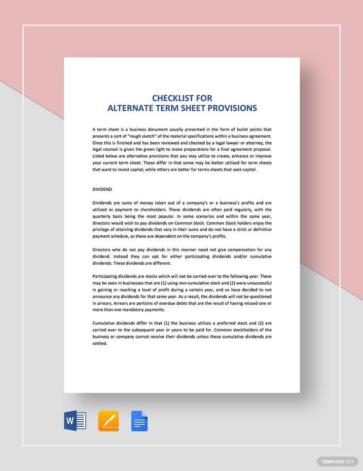 Checklist Alternate Term Sheet Provisions Term Sheet Templates
