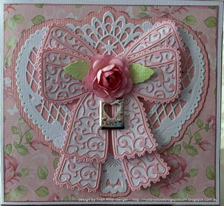 Trish Rheinberger's Tattered Lace Chantilly Bow Card. Isn't it gorgeous?