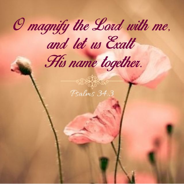 Psalm 34:3 (KJV) O magnify the LORD with me, and let us exalt his name together.