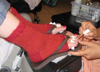cute idea- pedicure socks knitting pattern